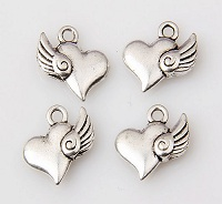 Heart with Wing Charm