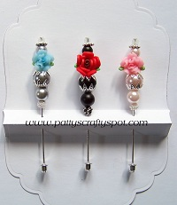 Set of 3 Blue/Red/Pink Stick Pins