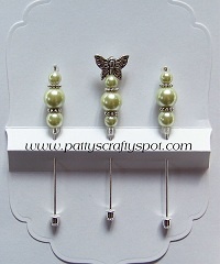 Set of 3 Lime Green/Butterfly Stick Pins
