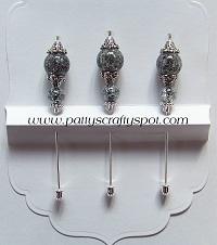 Set of 3 Grey/Blue Crackle Stick Pins