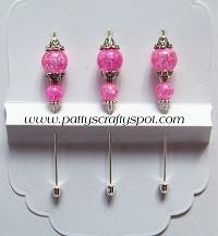 Set of 3 Pink Crackle Stick Pins