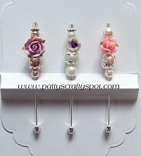 Set of 3 Pink/Purple Stick Pins