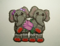Elephant Couple with Purple Rose