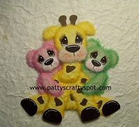 Gina Giraffe with two baby Tear Bears