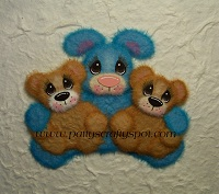 Tear Bunny with 2 Baby Tear Bears you choose colors