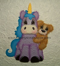 Purple Unicorn with Baby Tear Bear