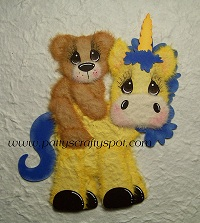 Yellow Unicorn with Baby Tear Bear