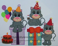 Birthday Party Cats Paper Piecing