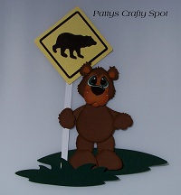 Rustic Bear with Bear Crossing Sign