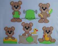 Bathtime Bears Green Yellow