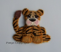 Brown Tiger with Black Stipes Tear Bear Sitting