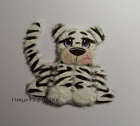 White Tiger with Black Stripes Sitting Tear Bear