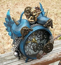 Blue Cherub Steampunk Clock by Pattys Crafty Spot