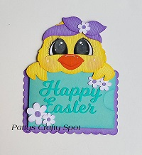 Happy Easter Chick Gift Card Holder Paper Piecing by Pattys Crafty Spot