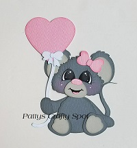 Cute Mouse with Heart Balloon Paper Piecing