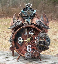 Blue Key Steampunk Clock by Pattys Crafty Spot