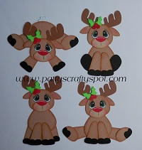 Set of 4 Rudolph Reindeer Paper Piecing
