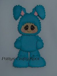 Kid in Blue Easter Bunny Costume Standing