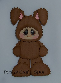 Kid in Brown Easter Bunny Costume Standing