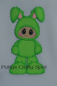Kid in Green Easter Bunny Costume Standing