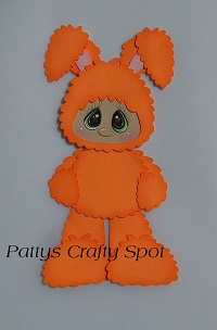 Kid in Orange Easter Bunny Costume Standing