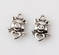 Pig on Heart with Wings Charm