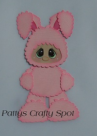 Kid in Pink Easter Bunny Costume Standing