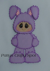 Kid in Purple Easter Bunny Costume Standing