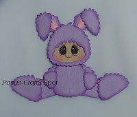 Kid in Purple Easter Bunny Costume Sitting