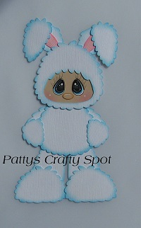 Kid in White Easter Bunny Costume Standing
